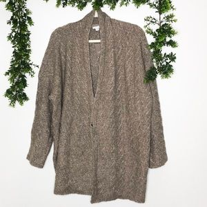 J. Jill Open Cardigan Cotton Alpaca Blend Mocha